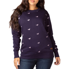 Ladies Embroidered Pattern Sweatshirt Navy With Pink Horses