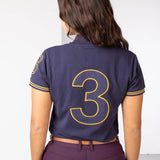 Rydale Plain Womens Polo Shirt With Team Number 3 Embroidery - Navy