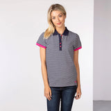 Blue Striped Ladies Polo Shirt