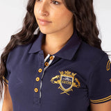 Close Up Of Rydale Equestrian Crest Polo Navy