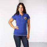 Equestrian Style Polo Shirt With 3 Team Number In Royal Blue