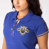 Rydale Plain Womens Polo Shirt With Number 3 Embroidery - Pacific Blue