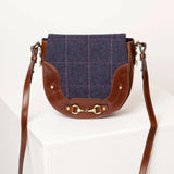 Womens Navy Check Tweed Messenger Bag