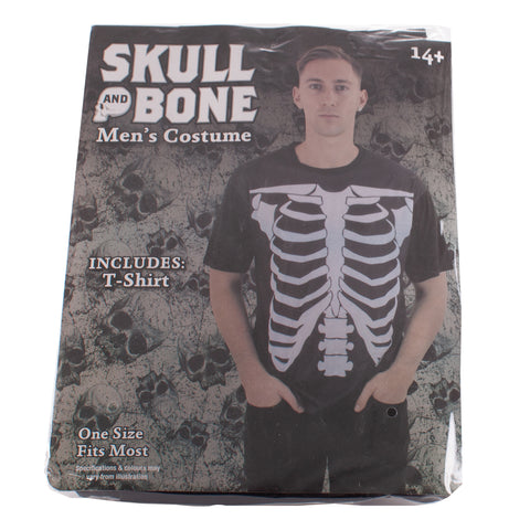 Short Sleeve Skull and Bone Black Skeleton T-Shirt