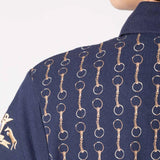 Ladies Horse Snaffle Polo Shirts Gold & Navy