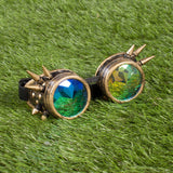 gold steam punk goggles with colourful prism lenses
