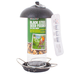 Black Steel Silo Seed Feeder