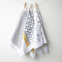 Set of 3 Tea Towels - Grey Design