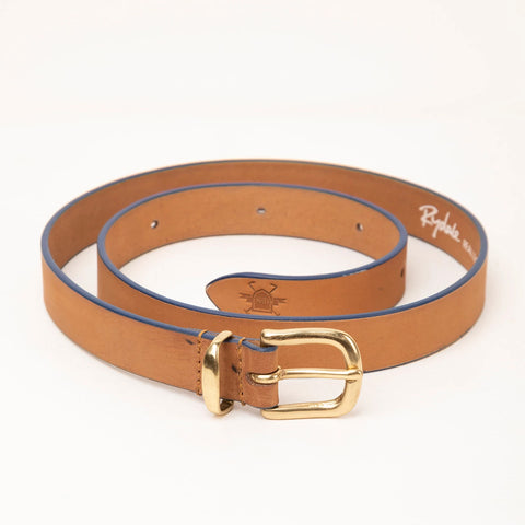 Tan Leather Belt For Women With Navy Contrast Edges