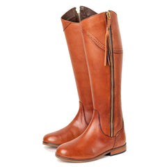 Ladies Tall Leather Spanish Riding Boots With Zip Tassles