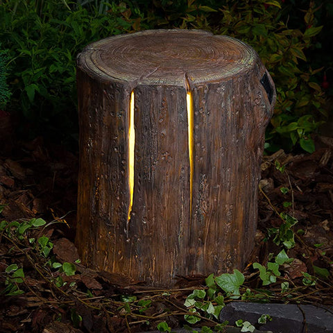 Noma Solar Woodland Decorative Tree Stump 34.5cm