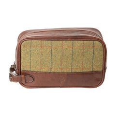 Rydale Ripley Leather And Tweed Toiletries Bag For Men