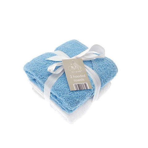 Blue Hooded Bath Towels - 2 Pack