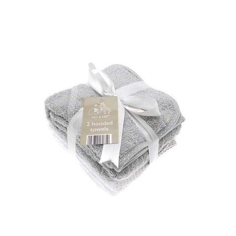 Grey Hooded Bath Towels - 2 Pack