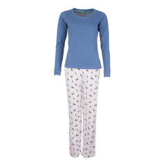 Long Sleeved Ladies Pyjamas Blue