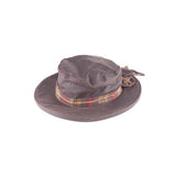 Waxed Cotton Bow Hat Brown