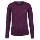 Crew Neck Cable Knit Sweater Berry