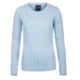 Crew Neck Cable Knit Sweater Seafoam