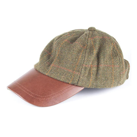 Tweed Baseball Cap with Leather Peak dark check