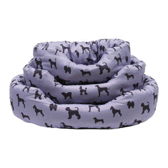 Grey Dog Print Dog Bed