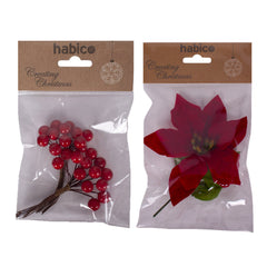 Habico Artificial Red Berries And Poinsettia