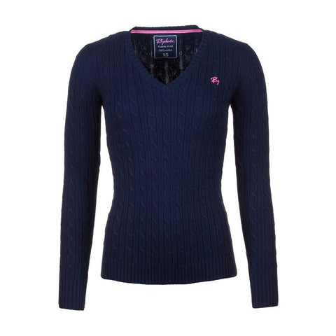2016 Cable Knit V Neck Sweater Navy