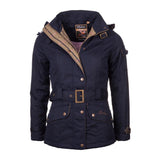 Belted Wax Biker Babe Jacket navy