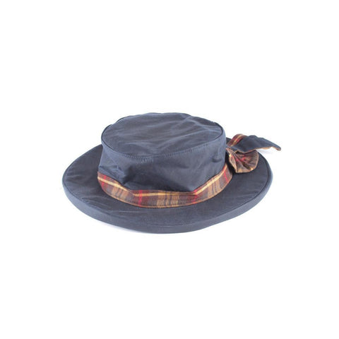 Waxed Cotton Bow Hat Navy