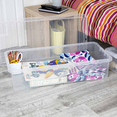 Wham Crystal Clear Plastic Storage Box With Lid - 42L