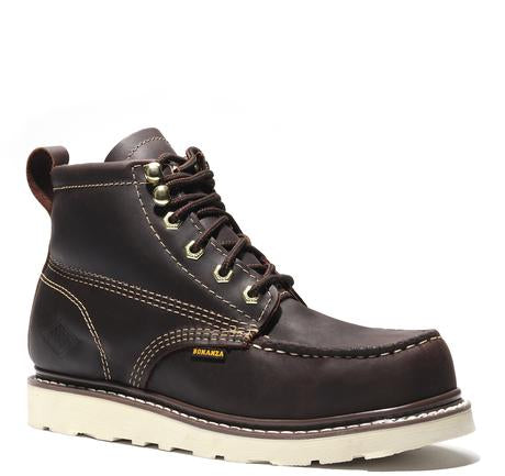 FRONTIER | Classic Moc Toe 6-Inch Wedge Sole Work Boot with (Steel Toe)