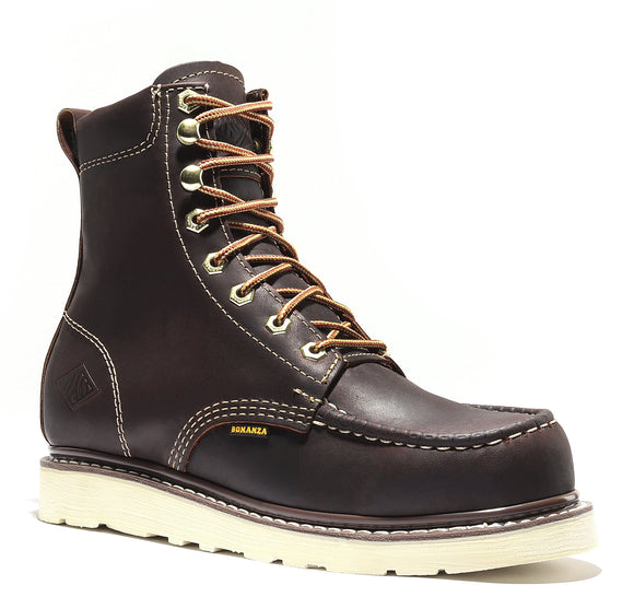 FRONTIER | Classic Moc Toe 8-Inch Wedge Sole Work Boot (Soft Toe)