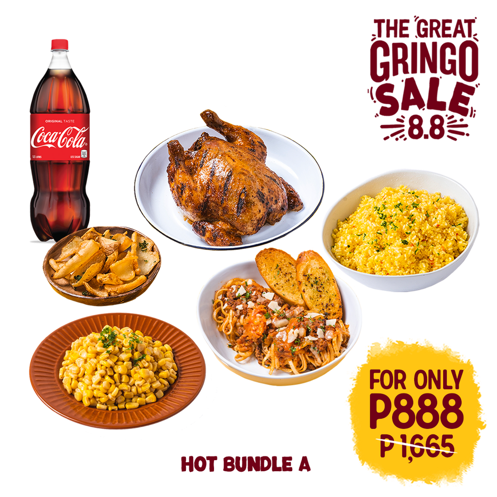 Whole Chicken + Large Cuban Rice + Large Buttered Corn + Pasta Plate + Side Grinchos + 1.5L Coke