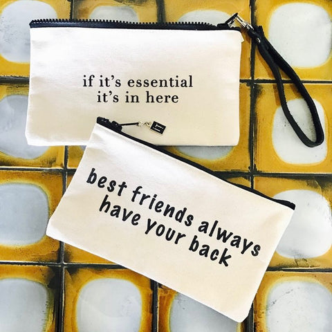 "ithrivenyc bags that make you smile. canvas bags made in new york city. bags read ""if it's essential it's in here"" and ""best friends always have your back"""
