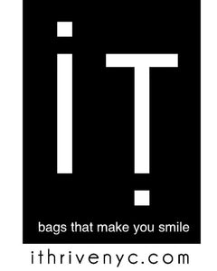 ithrivenyc logo and tag. bags that make people smile. Made in NYC.