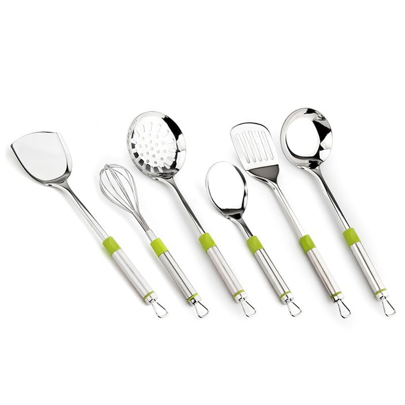Hot 7pcs Kitchenware Cook Tool sets Cooking Tools set Kitchen Utensils w/ Green Handle Stainless steel Soup Ladle Leak Shovel