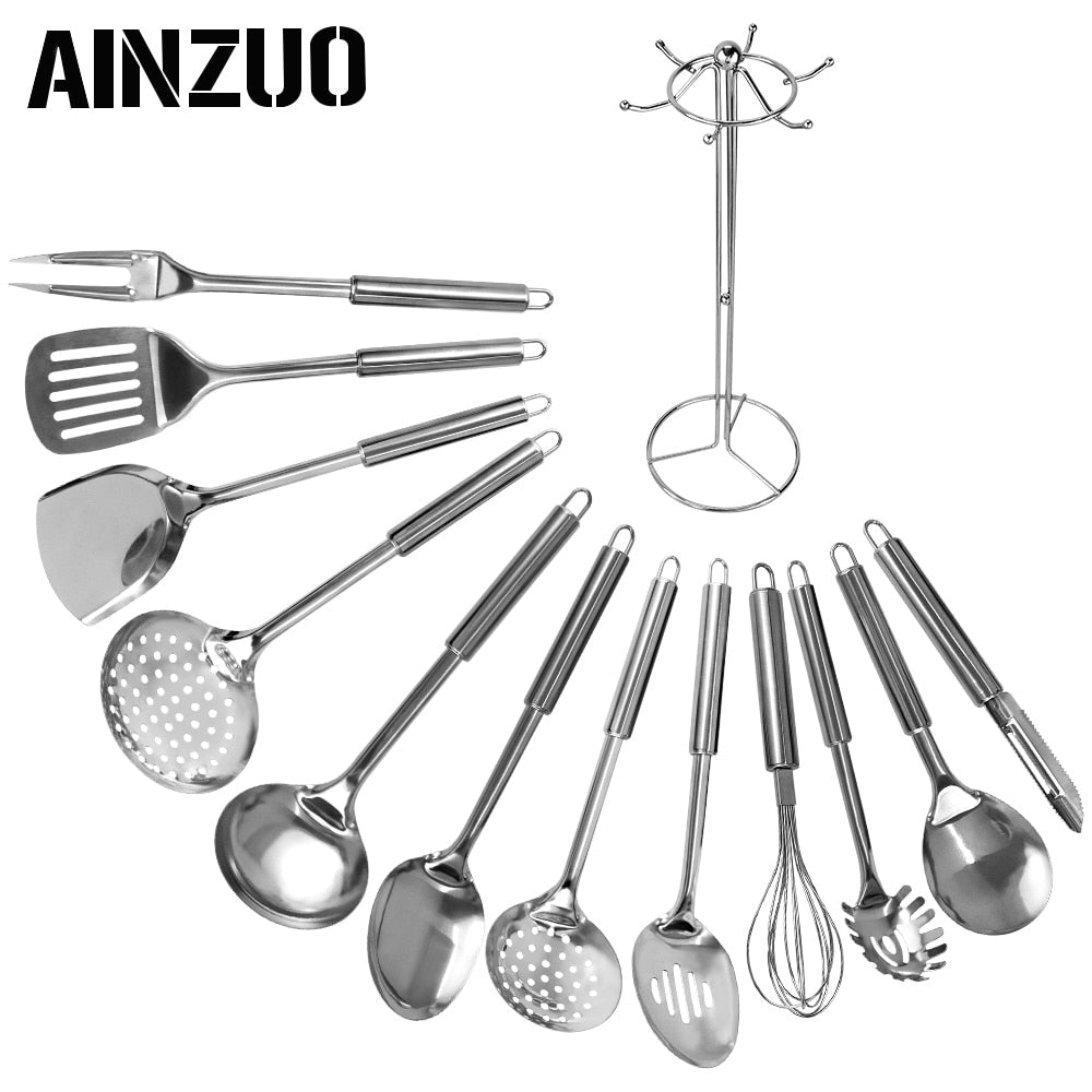 AINZUO 13 Pcs Stainless Steel Kitchen Utensils Spoon Skimmer Shovel Spatula Meat Fork Egg Beater Cooking Utensils Kitchenware