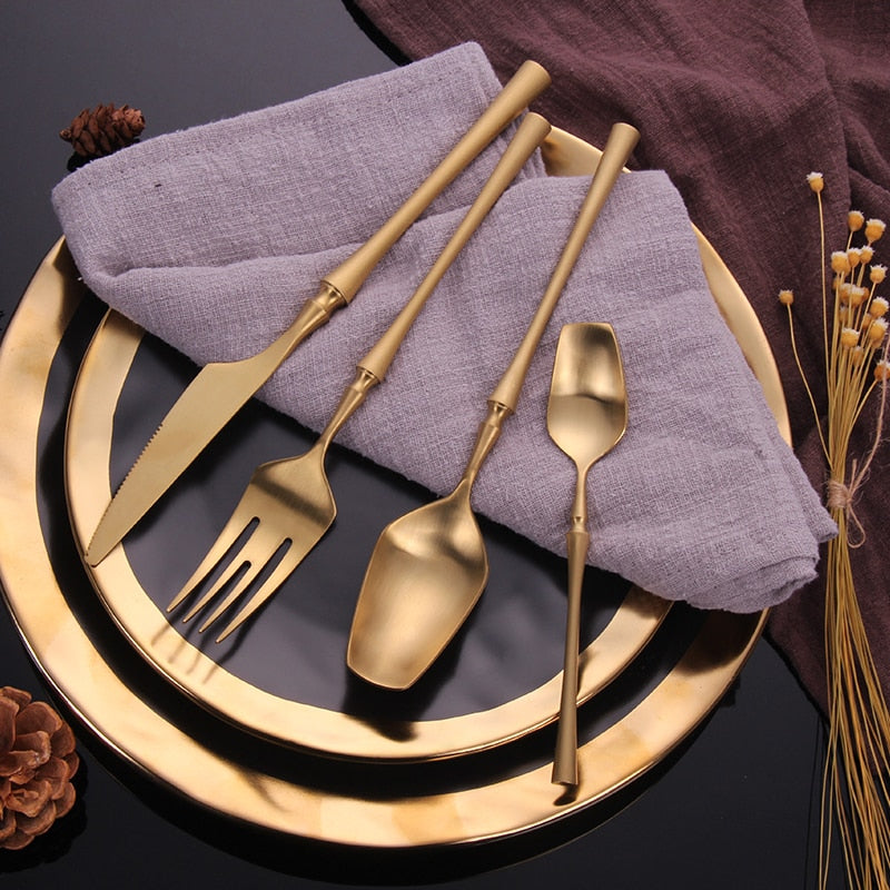 24Pcs/set 304 Stainless Steel Black Gold Cutlery Set Flatware Dinnerware Tableware Silverware Set Knife Fork