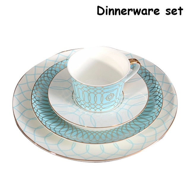Dinnerware Set Ceramic Plate With Coffee Mug Geometric Figure Steak Dinner Dishes Set Bone China Flat Dish Tableware Set 10inch