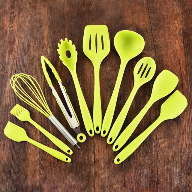 New 10Pcs Non-Stick Kitchenware Silicone Cooking Spoon Spatula Ladle Egg Beaters Utensils Dinnerware Set Cooking Tools