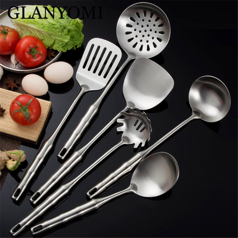 6PCS Stainless Steel Cookware Set Kitchen Shovel Turner Soup Spoon Pasta Server Strainer Cooking Tools Utensils Kitchenware