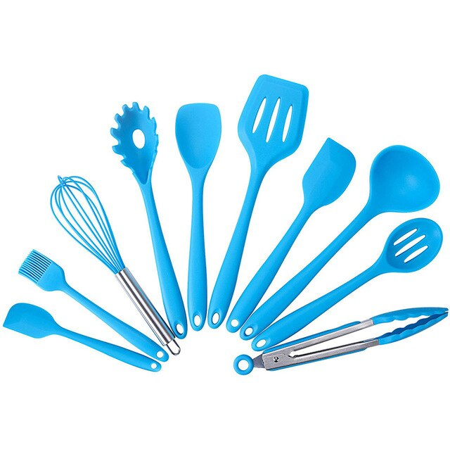 10 Pcs Kitchenware Silicone Heat Resistant Kitchen Cooking Utensils Non-Stick Baking Tool Cooking Tool Set
