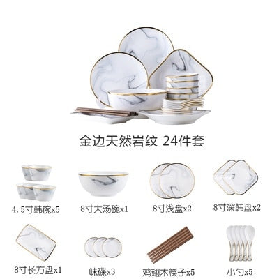 Nordic wind ceramics Phnom Penh marble tableware set christmas Bowl dish set bowl  soup dishes and dishes for household use
