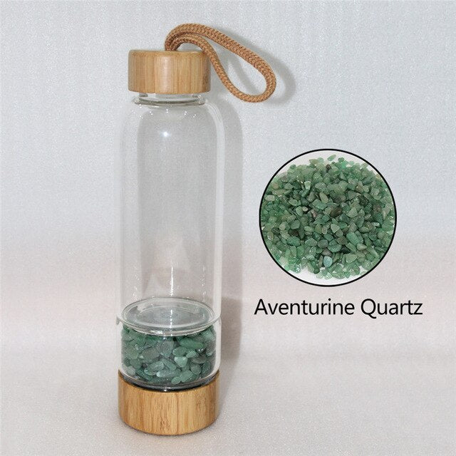 Natural Quartz Irregularity Crystal Gravel Bottle Glass Water Gravel Stone Cup Gift giving Drinkware