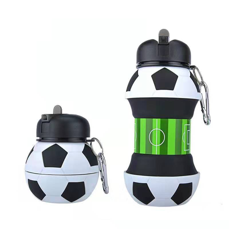 Creative 550 ml Football Sports Water Bottle With Straw Eco-friendly Plastic Leak Proof Foldable Drinking Portable Drinkware