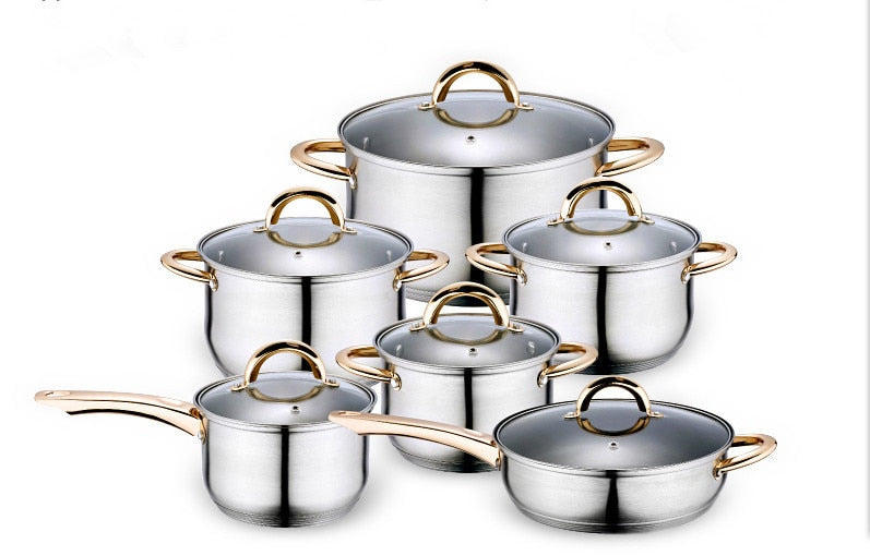 Cooking Tools 12PC Of 18/10 Stainless Steel Cookware Set Saupcepan Set Cooking Pots Panela Pots And Pans Glass Lid Free Shipping
