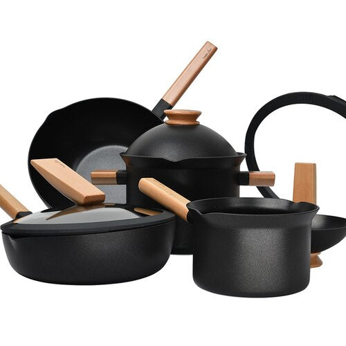 Removable Creative Flat Bottom Non-stick Household Fried Vegetable Cooker Set  Kitchen Pot  Cookware set