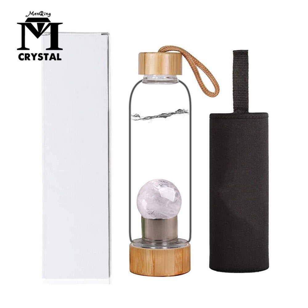 Natural clear Crystal Water Bottle Stone ball Healing quartz ball Elixir Quartz Crystal Energy Drinkware for gift