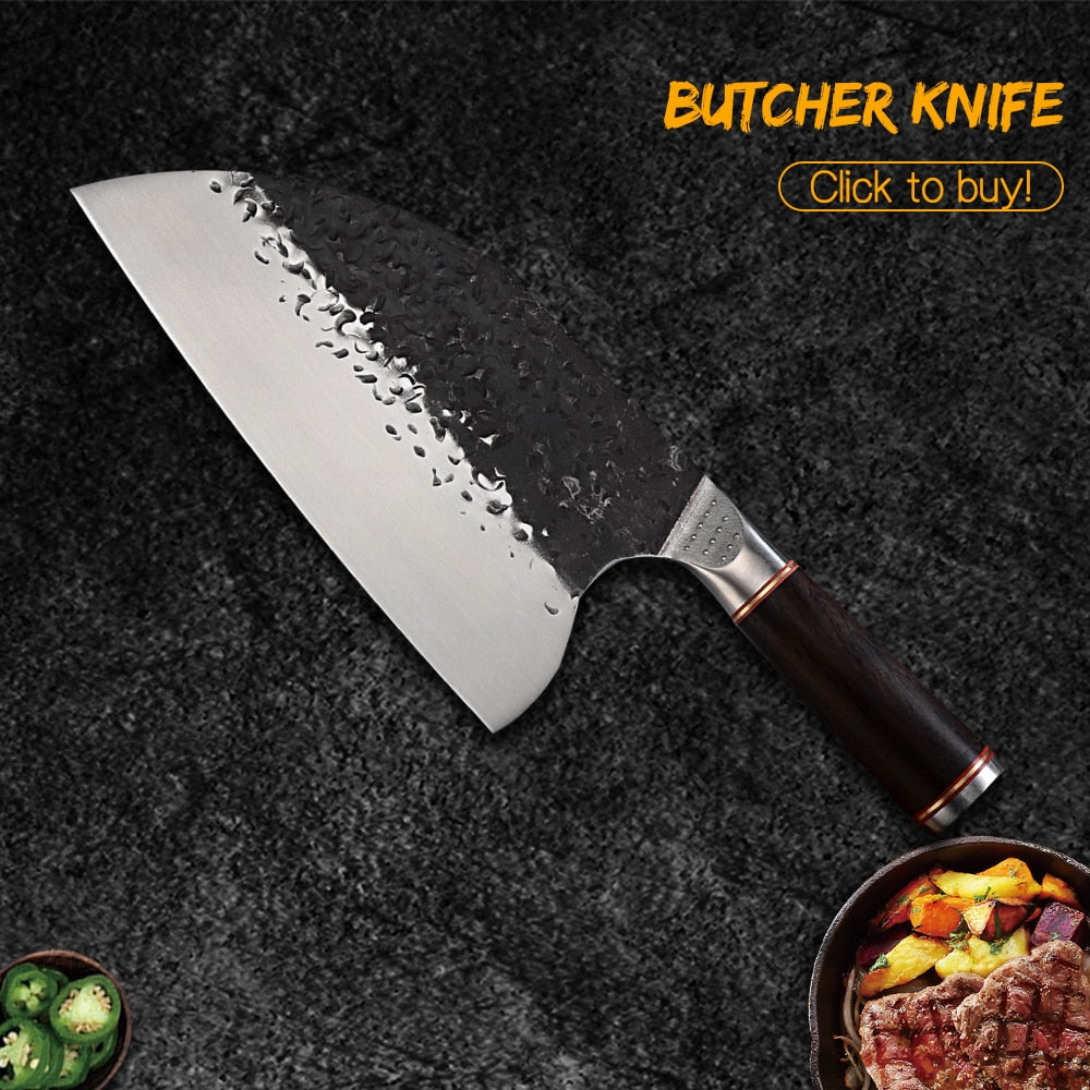 Damask Handmade Forged Butcher Knife Wide Blade Chopping Knife Chinese Cleaver Camping Serbian Chef Knife Ebony Wood Handle Tool