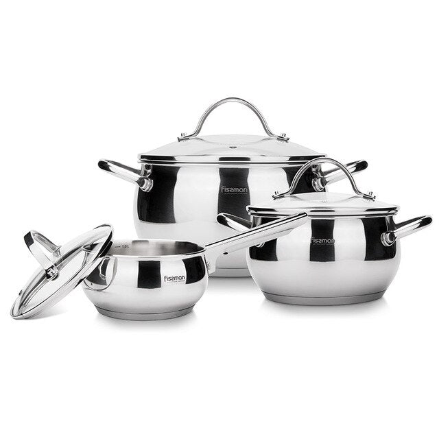 FISSMAN MARTINEZ Series Stainless Steel Cookware Set with Glass Lid Induction Bottom