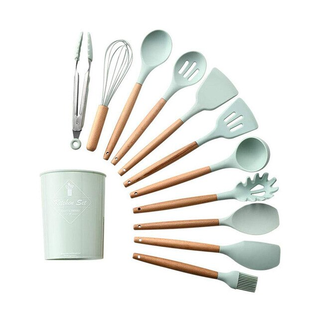 TEENRA 12PCS Silicone Kitchenware Non-stick Cookwate Cooking Set Silicone Cooking Tools Household Wooden Baking Tools